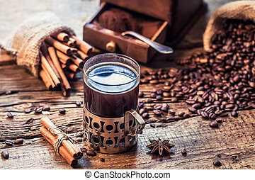 Freshly brewed coffee with the scent of cinnamon