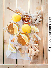Freshly brewed tea with ginger and lemon