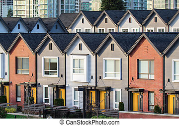 Freshly build townhomes in beautifull row.