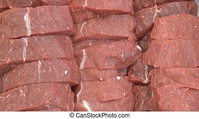 Freshly chopped beef meat. Raw meat slices. - Freshly ...