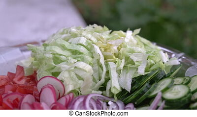 Freshly chopped summer salad. Many delicious vegetables in...