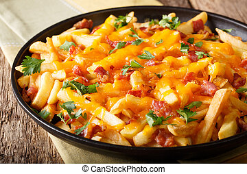 Freshly cooked French fries baked with cheddar cheese, bacon and parsley closeup. horizontal