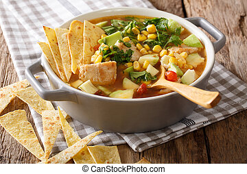 Freshly cooked tortilla soup with chicken and vegetables...