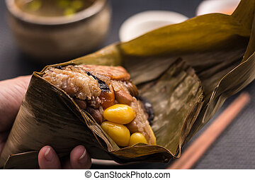Freshly cooked Zongzi wrapped