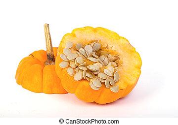 freshly cut pumpkin and seeds