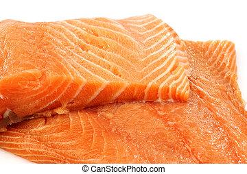 freshly cut salmon fillets