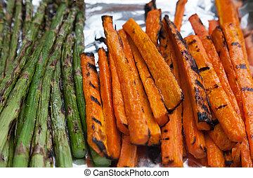 Freshly Grilled Vegetables Carrots Asparagus