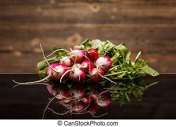 Freshly harvested radishes