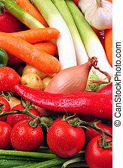freshly harvested vegetables from the garden in a basket