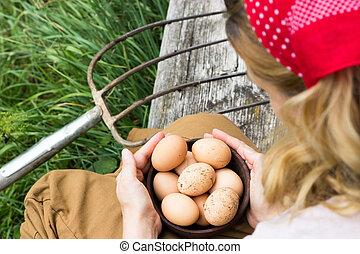 Freshly laid eggs