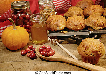 Freshly made pumpkin and berry muffins