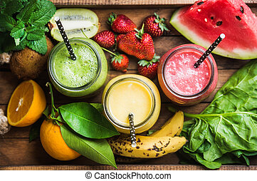 freshly, misturado, fruta, smoothies, de, vário, cores, e, gostos