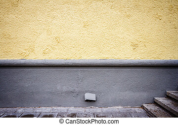Freshly painted yellow wall
