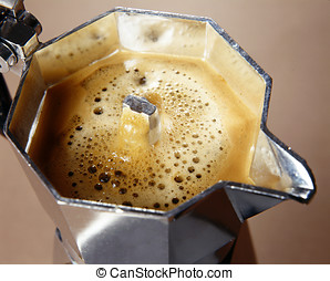Freshly percolated coffee - Closeup high angle view of...