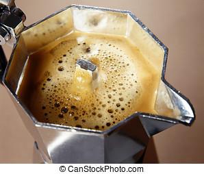 Freshly percolated coffee - Closeup high angle view of...