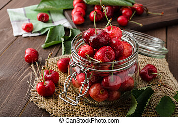 Freshly picked cherries, natural cultivation, bio quality