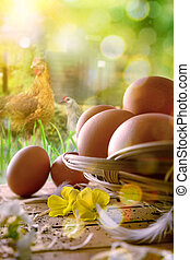 Freshly picked eggs in basket and field with chickens...