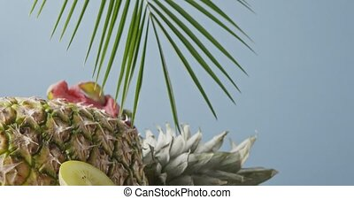 Freshly picked natural ripe exotic fruits with ripe...