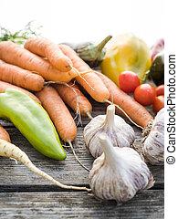 Freshly picked organic home-grown vegetables