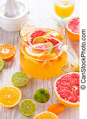 Freshly prepared ice tea or lemonade with assorted citrus ...