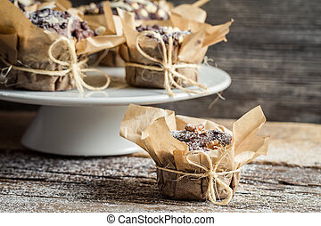 Freshly prepared muffin ready to eat