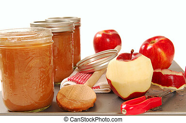 Freshly preserved apple sauce - Tray of freshly made ...