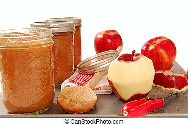 Freshly preserved apple sauce - Tray of freshly made ...