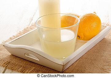 freshly squeezed lemon juice in a glass