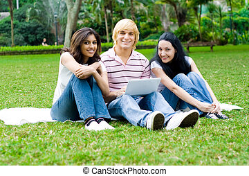 freshman hanging out in park