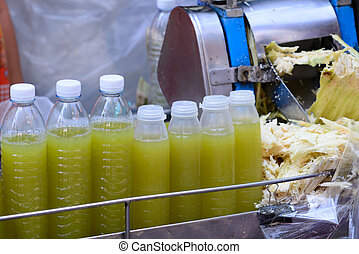Freshness cane juice in plastic bottle.