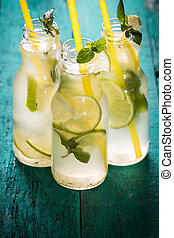 Freshness drink on a wooden background , healthy concept