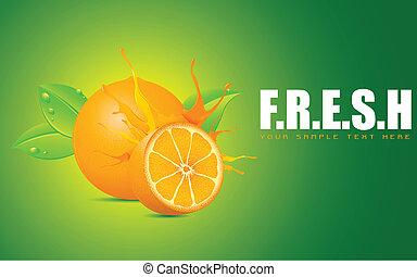 Freshness - illustration of juicy orange showing freshness