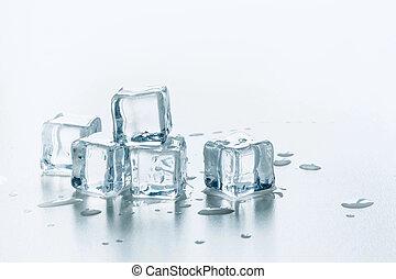 Freshness ice cubes isolated on white. Close up.