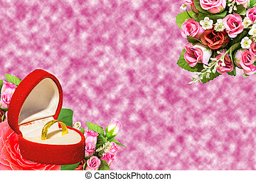 freshpink red roses bouquet and golden ring in box with free space for text background