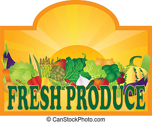 FreshProduceSignSunRaysV - Grocery Store Fresh Produce...