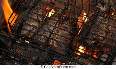 Freshwater river fish crucian carp Carassius fried on fire...