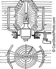 Fresnel Lens, vintage engraving