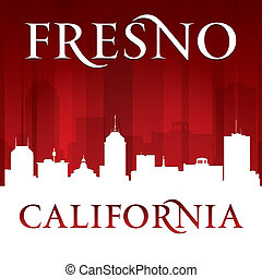 Fresno California city silhouette red background