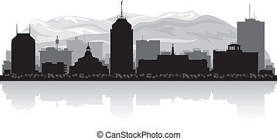 Fresno California city skyline silhouette