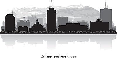 Fresno California city skyline silhouette