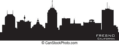 Fresno California city skyline vector silhouette - Fresno ...