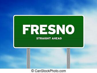 fresno, california, señal de autopista