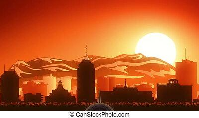 Fresno California USA America Skyline Sunrise Take Off