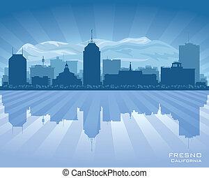 fresno, horizon, vecteur, ville, californie, silhouette