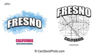 fresno, logo, gestaltungsarbeiten, kalifornien, zwei