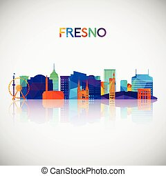 Fresno skyline silhouette in colorful geometric style.