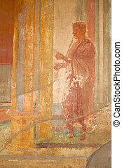 fresque, ruines, de, pompéi