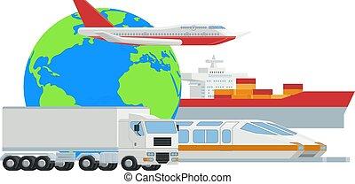 fret, cargaison, globe, concept, logistique, transport