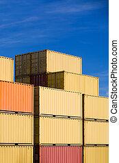 fret expédition, récipients cargaison, pile, dans, port