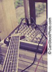 fretboard, de, guitarra, misturador, controle, fundo